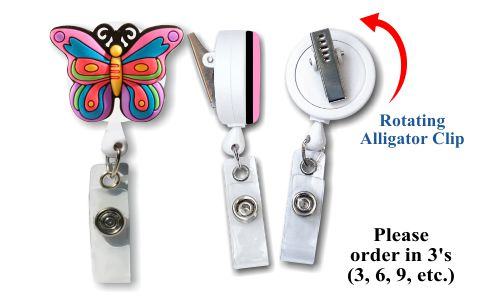 Retractable Badge Holder with Soft 3D Rubber: Butterfly