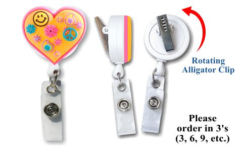 Retractable Badge Holder with Soft 3D Rubber: Retro Heart