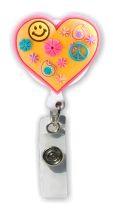 Retractable Badge Holder with Rubber Retro Heart