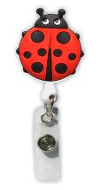 Retractable Badge Holder with Rubber Ladybug