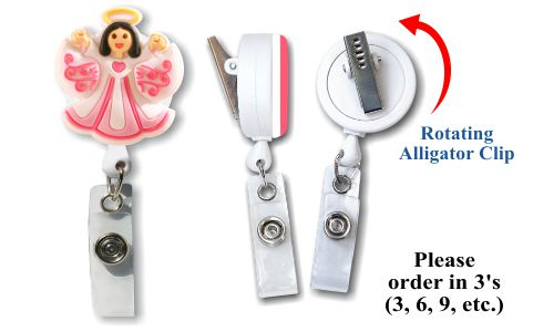 Retractable Badge Holder with Soft 3D Rubber: Angel