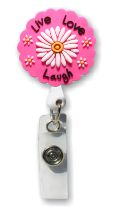 Retractable Badge Holder with Rubber Live Love Laugh