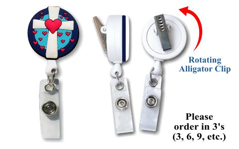 Retractable Badge Holder with Soft 3D Rubber Cross