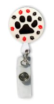 Retractable Badge Holder with Rubber Paw Print