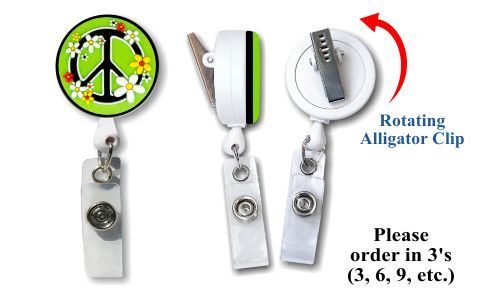 Retractable Badge Holder with Rubber Peace Sign