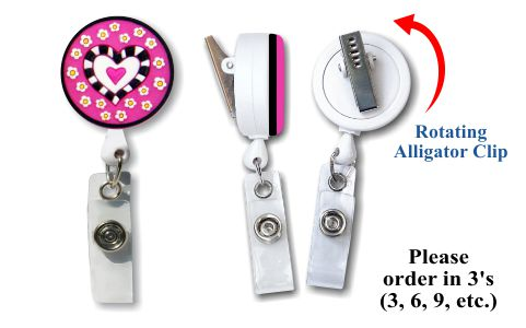 Retractable Badge Holder with Rubber Hearts