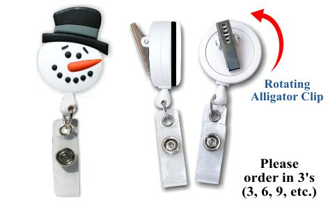 Retractable Badge Holder with Snowman