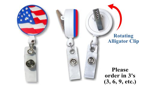 Retractable Badge Holder with Flag