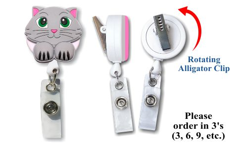 Retractable Badge Holder with Cat