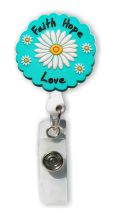 Retractable Badge Holder with Faith Hope Love