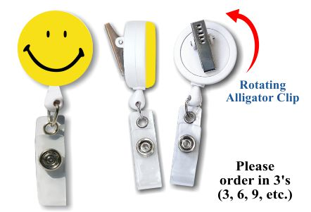 Retractable Badge Holder with Smiley