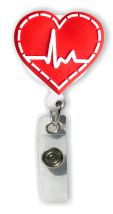 Retractable Badge Holder with EKG Heart