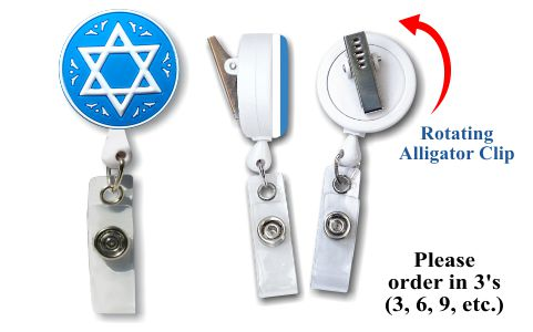 Retractable Badge Holder with Star of David