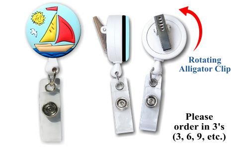 Retractable Badge Holder with Sailboat