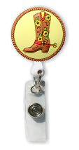 Retractable Badge Holder with Cowgirl Boot