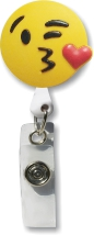Retractable Badge Holder with Kiss Emoji
