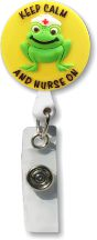 Retractable Badge Holder with Nurse Frog