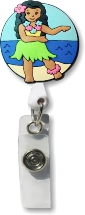 Retractable Badge Holder with Hula Girl