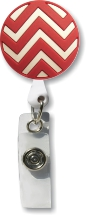 Retractable Badge Holder with Red Chevron