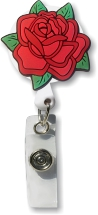 Retractable Badge Holder with Red Rose