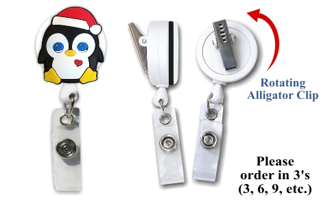 Retractable Badge Holder with Xmas Penguin