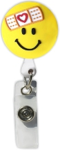 Retractable Badge Holder with Bandage Smiley