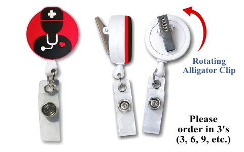 Retractable Badge Holder with Male Nurse Icon