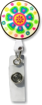 Retractable Badge Holder with Retro Flower in White