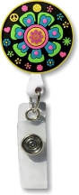 Retractable Badge Holder with Retro Flower in Black