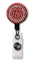Retractable Badge Holder with Red & Clear Rhinestones