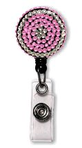 Retractable Badge Holder with Pink & Clear Rhinestones