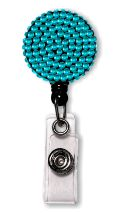 Retractable Badge Holder with Blue Rhinestones