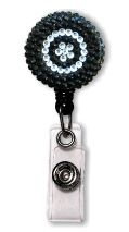 Retractable Badge Holder with Black & Clear Rhinestones