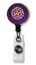 Retractable Badge Holder with Pink and Purple Rhinestones