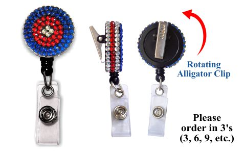 Retractable Badge Holder with Red White and Blue Rhinestones