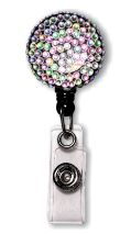 Retractable Badge Holder with Aurora Borealis Rhinestones