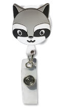 Retractable Badge Holder with Raccoon