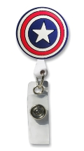 Retractable Badge Holder with Patriotic Star Shield
