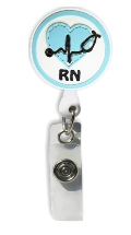 Retractable Badge Holder with RN Heart