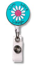 Retractable Badge Holder with Enamel Live Love Laugh