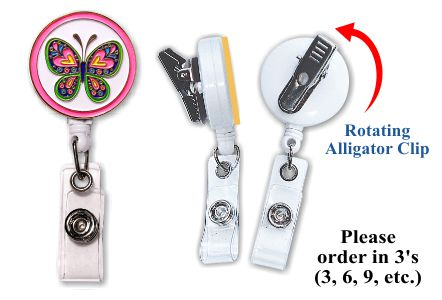 Retractable Badge Holder with Enamel Butterfly