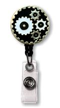 Retractable Badge Holder with Enamel Gears