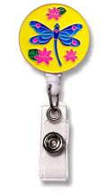 Retractable Badge Holder with Enamel Dragonfly