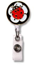 Retractable Badge Holder with Enamel Ladybug