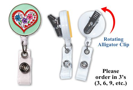Retractable Badge Holder with Enamel Heart