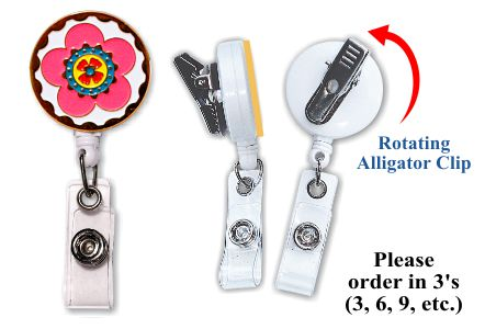 Retractable Badge Holder with Enamel Flower