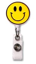 Retractable Badge Holder with Enamel Smiley