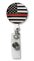 Retractable Badge Holder with Enamel Thin Red Line Flag