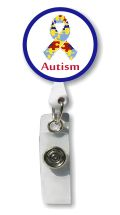 Autism Ribbon Retractable Badge Holder