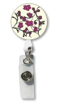 Small Pink Flowers Retractable Badge Holder
